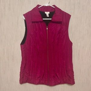 CHICO'S Hot Pink/ Black Quilted Vest size 3